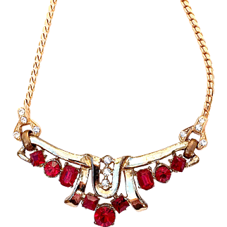 Vintage Deep Red And Clear Rhinestones Necklace