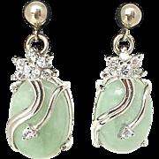Beautiful Vintage Jade Sterling Silver Rhinestone Pierced Earrings