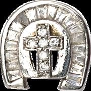 Mens Vintage Sterling Silver, Crystal Cross Ring