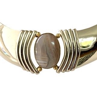 Vintage 1980s Silver Tone Choker Collar And Earrings with Large Agate