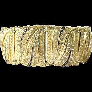 Beautiful Vintage 1940s Gold over 800 Silver Filigree Bracelet