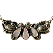 Vintage 1970s Pink Mother of Pearl Sterling Silver Necklace