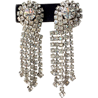 Vintage 1980s Dramatic Sparkly Drop Clip Earrings
