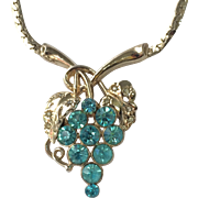 Vintage 1950s Gold Tone, Cerulean Blue Rhinestone Necklace