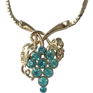 Vintage 1950s Gold Tone, Cerulean Blue Rhinestone Necklace