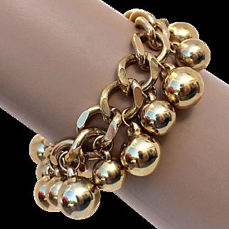Fun Vintage Gold Tone Chunky Bracelet With Balls