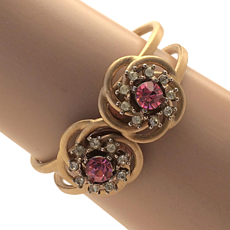 Gold Tone Metal Hinge Bracelet With Pink And Clear Rhinestones