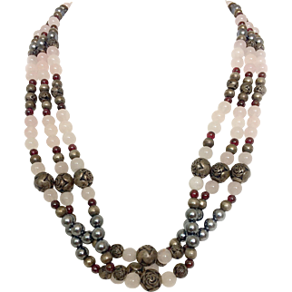 Vintage Three Strand Rose Quartz, Silver Tone Beaded Necklace