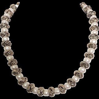 Vintage Anne Klein Designer Faux Pearl Silver Tone Necklace
