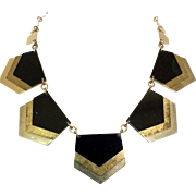 Vintage 1980s Gold Silver Black Metal Chevron Necklace
