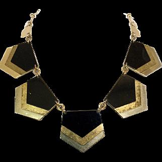 Vintage 1980s Gold Silver Black Metal Chevron Necklace