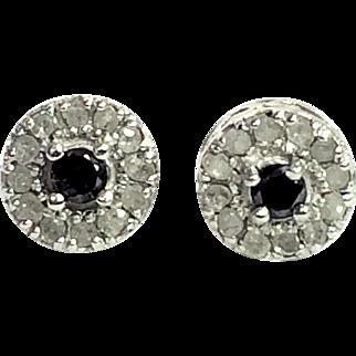 Vintage Dainty Sterling Silver Sapphire Post Earrings