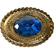 Vintage Brass Blue Glass Victorian Style Pin