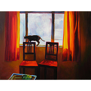 Two Red Chairs, Original Oil Painting – Karen Chandler