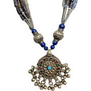 Vintage Tibetan Silver, Lapis, Stone and Glass Bead Necklace