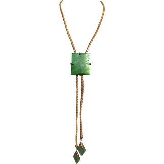 Vintage Jadeite And Leather Lariat Necklace