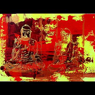 Buddha Red, Original Acrylic Painting – Karen Chandler
