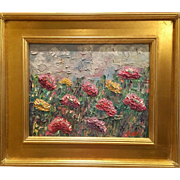 """Abstract Wildflowers Impasto"", Original Oil Painting by artist Sarah Kadlic, 11x14 with Gilt Wood Frame"