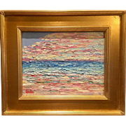 """Abstract Seascape Impasto"", Original Oil Painting by artist Sarah Kadlic, 11x14"" with Gold Leaf Gilt Wood Frame"