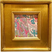 """Abstract Pink & Aquas Marbling"", Original Acrylic Painting by artist Sarah Kadlic, 12"" Gilt Gold Frame"