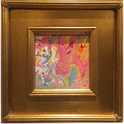 """Abstract Pink & Yellow Marbling"", Original Acrylic Painting by artist Sarah Kadlic, 12"" Square Gold Gilt Frame"