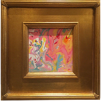 """Abstract Pink & Yellow Marbling"", Original Acrylic Painting by artist Sarah Kadlic, 12"" Square Gold Gilt Frame"