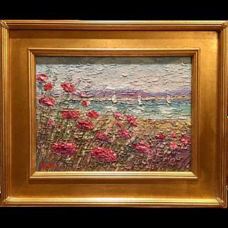 """Abstract Heavy Impasto Seascape Sunset"", Original Oil Painting by artist Sarah Kadlic, 12x16"" Gilt Wood Framed"