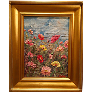 """Abstract Wild Flowers"", Original Oil Painting by artist Sarah Kadlic, 12x16 + Gilt Wood Frame"