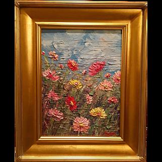 """Abstract Wild Flowers"", Original Oil Painting by artist Sarah Kadlic, 12x16 + Gilt Wood Frame"