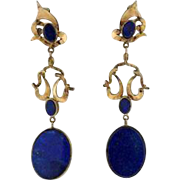 Stunning 1970s Lapis Lazuli 14k Gold Long Dangle Earrings