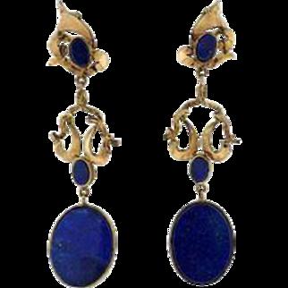 Stunning 1970s Lapis Lazuli 14k Gold Long Dangle Earrings