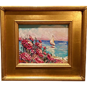 """French Wild Flowers Seascape Abstract"", Original Oil Painting by artist Sarah Kadlic, 14x16"" with Gilt Frame"