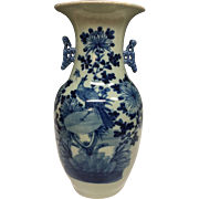 Stunning Large Handmade Asian Chinese Imari Export Porcelain  Blue and White Porcelain Vase, 1900s