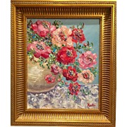 """Abstract Floral Still Life"", Original Oil Painting by artist Sarah Kadlic, 16""x20"" with Chunky Gilt Wood Frame"