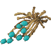 Striking and Beautiful Large Ladies 18k Gold Textured Turquoise Brooch/Necklace Pendant