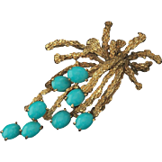 Striking and Beautiful Ladies 14k Gold Textured Turquoise Pin Brooch / Necklace Pendant