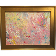 """Abstract Pink & Yellow Marbling"", Original Acrylic Painting by artist Sarah Kadlic, 18x24"" Gold Gilt Frame"