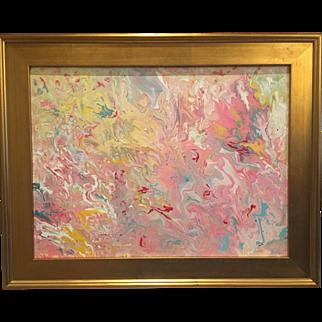 """Abstract Pink & Yellow Marbling"", Original Acrylic Painting by artist Sarah Kadlic, 18x24"" Gold Gilt Frame"