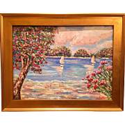 """Impressions II: Seascape with Sailboats "", Original Oil Painting by artist Sarah Kadlic, 18x24 Gilt Leaf Frame"