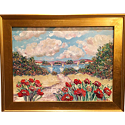 """Abstract Red Poppies Seascape"", Original Oil Painting by artist Sarah Kadlic, 18x24"" Gilt Leaf Wood Frame"
