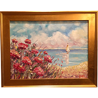 """Abstract Seascape Sailboat & Poppies"", Original Oil Painting by artist Sarah Kadlic, 24x18"" Gilt Leaf Frame"