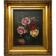 Beautiful Art Deco Original Oil Painting Floral Still Life by Listed Danish Artist HJ Hilding, 1930-40