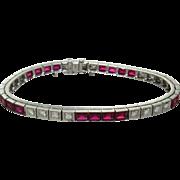 Stunning 1950's Mid-Century H/VS Diamond 14K Gold Synthetic Ruby Line Tennis Bracelet