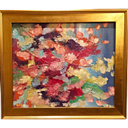 """Abstract Explosion of Colors"", Original Oil Painting by artist Sarah Kadlic, 24x20"" Gilt Leaf Framed"
