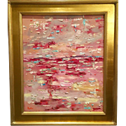 """Abstract Pink Textured Impasto"", Original Oil Painting by artist Sarah Kadlic, 24x20"" Chunky Gilt Wood Frame"