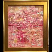 """Abstract Textured Impasto"", Original Oil Painting by artist Sarah Kadlic, 24x20"" Gilt Leaf Wood Frame"