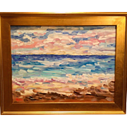 """Impressions: Seascape with Sailboats "", Original Oil Painting by artist Sarah Kadlic, 24x18"" Gilt Leaf Frame"