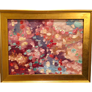 """Abstract Impasto of Color"", Original Oil Painting by artist Sarah Kadlic, 24""x18"" Gold Gilt Frame"