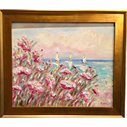 """Abstract Seascape Sunset"", Original Oil Painting by artist Sarah Kadlic, 24x20+ Gilt Frame"