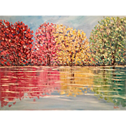"""Abstract Impasto Autumn Fall Trees Landscape"", Original Oil Painting by artist Sarah Kadlic, 30x40"""